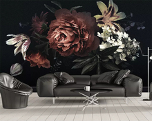 beibehang Modern classic three-dimensional papel de parede wallpaper simple peony lily hand-painted flowers bedroom background