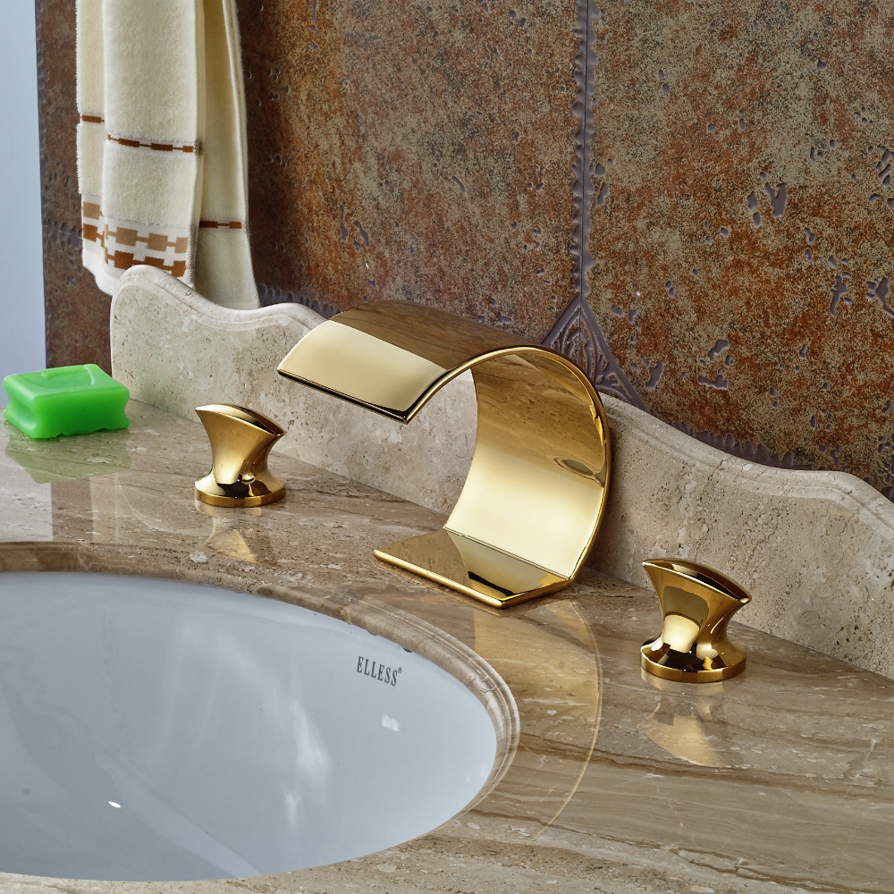 Wholesale And Retail  Deck Mounted Bathroom Basin Faucet Brass Dual Handle Tub Faucet Vanity Sink Mixer Tap Golden Finish pastoralism and agriculture pennar basin india