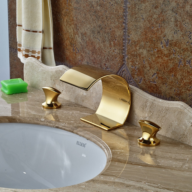 Wholesale And Retail Deck Mounted Bathroom Basin Faucet Brass Dual ...