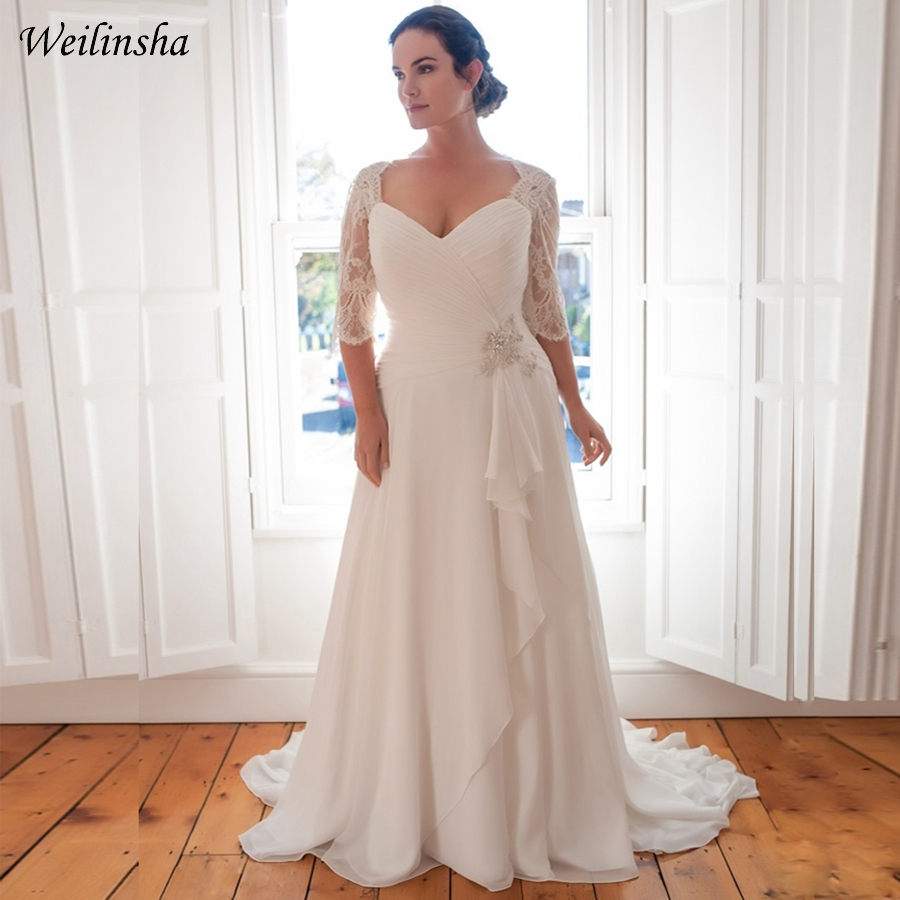 Discount Bridal Gowns: Weilinsha Cheap Plus Size Wedding Dress Half Sleeve Lace