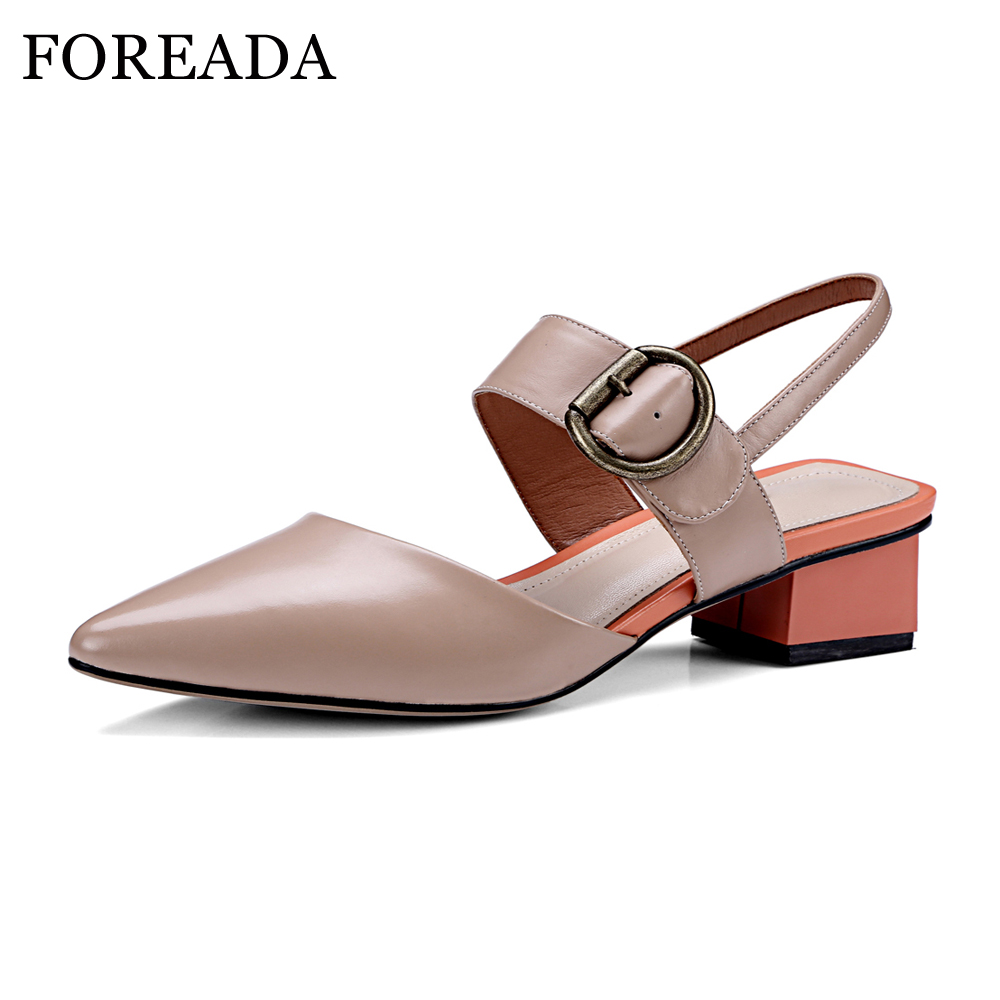 FOREADA Genuine Leather Shoes Women Slingbacks Pumps Buckle Strap Thick Med Heels Pointed Toe 2018 Shoes Spring Casual Shoes foreada ballet flats shoes genuine leather women 2018 shoes ankle strap buckle flat black pointed toe casual shoes ladies spring