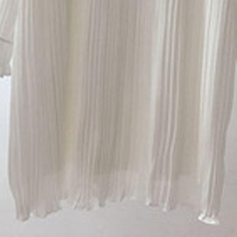Color beige Mi En longueur Plissée Lâche Femmes Rembourré longueur Col De Soie Nouvelle Mode white Feuille 2018 Mousseline Robe Lotus Demi Ok001 Black RqFA1Rxw