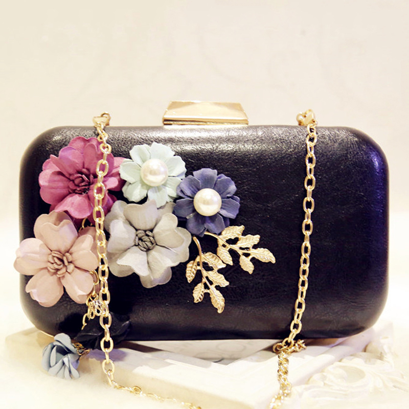 Pearl Party Evening Clutch Bags Purse Designer Women's Flower Clutch Evening Bags PU Leather Ladies Floral Chain Shoulder Bag