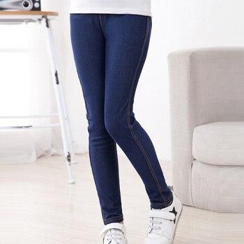 SheeCute/новые модные джинсы-карандаш для девочек на весну-лето, вязаные джинсы из имитирующего джинсы, детские длинные штаны яркой расцветки со средней талией