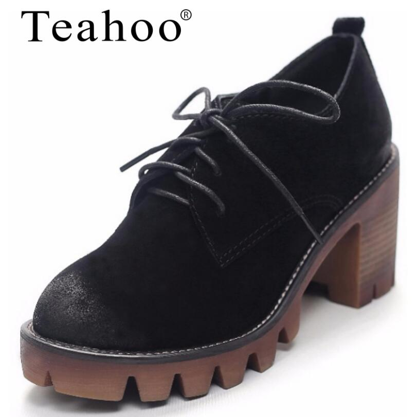 Teahoo Brand Shoes 2017 Autumn Winter Round Toe Lace-Up Women Shoes High Heel Genuine leather Platform Shoes Oxford Shoes Heels nayiduyun women genuine leather wedge high heel pumps platform creepers round toe slip on casual shoes boots wedge sneakers