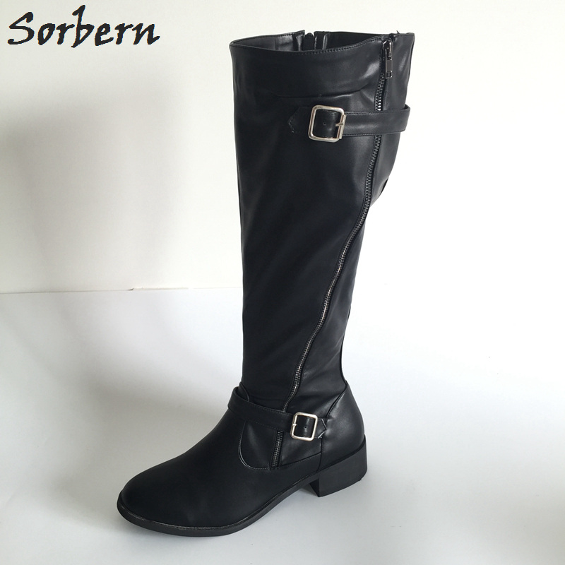 Sorbern Black Women Boots 2017 Low Hoof Heels Round Toe Knee High Boots Faux Women Shoes Winter Custom Colors Size 33-46 alfani new black women s size small s mesh back high low ribbed blouse $59 259