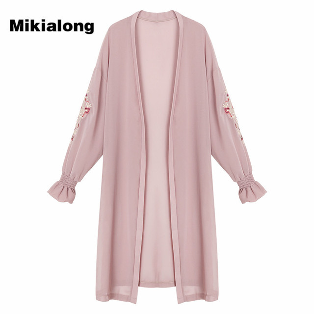Mikialong Summer Kimono Cardigan Women 2017 Floral Embroidery ...
