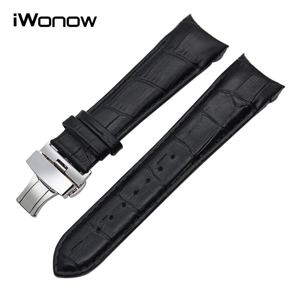 Top Layer Genuine Leather Watchband 22 23 24mm for Couturier T035 Replacement Watch Band Steel Butterfly Clasp Wrist Strap Black replacement genuine leather wrist watchband strap for huawei talkband b3 watch