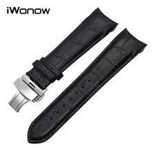 Top Couche Véritable Bracelet En Cuir 22 23 24mm pour Tissot T035 Bande De Montre De Remplacement Acier Papillon Boucle Dragonne noir