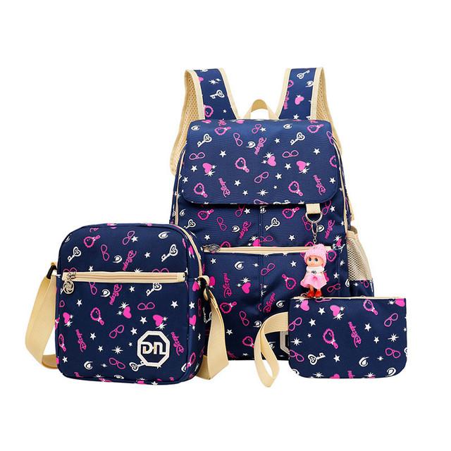 De gran Capacidad Mochilas escolares Para Adolescentes Niñas Mochila Impresión Niños Mochilas 3 unids/set Mochila Bookbag Mochila bolso Lindo del hombro