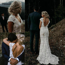 2019 New Boho Lace Mermaid Prom dresses Vintage V Neck Backless Beach Party Gowns Custom