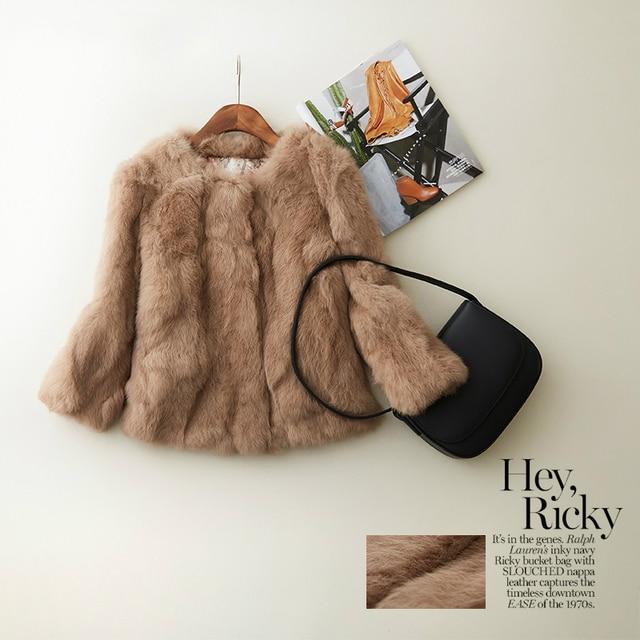 Clearance 29 USD Autumn NATURAL REAL Rabbit Fur Coats Women O Neck Three Quarter Sleeve Short Slim Fur Coat Outerwear D1001