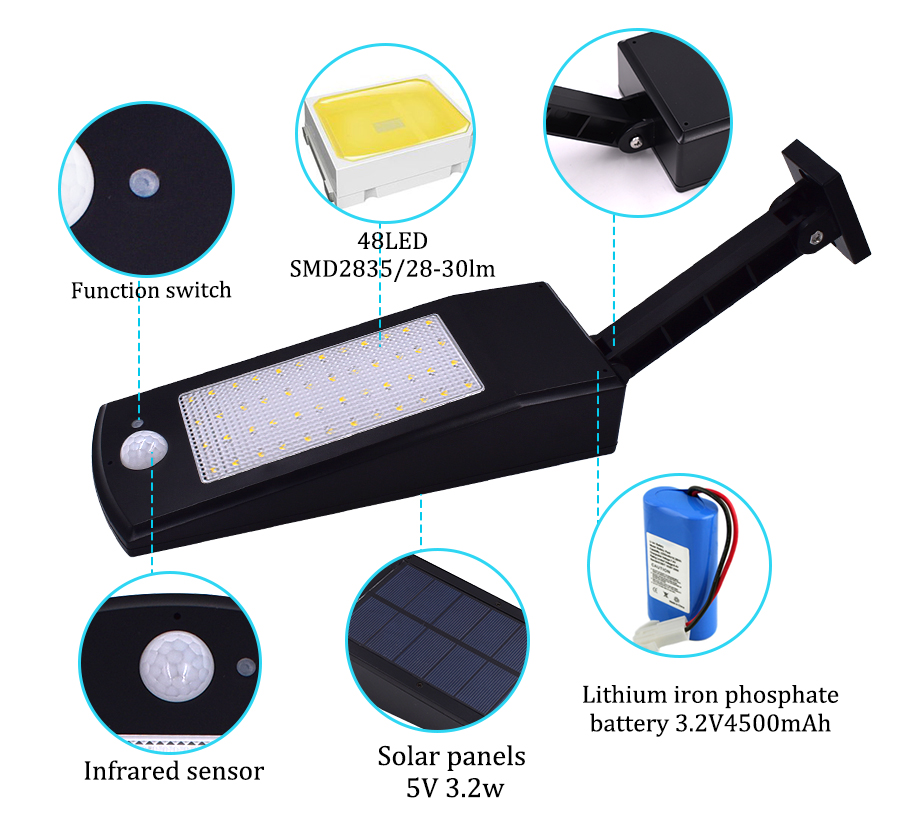 48 led Solar Light 900LM lamp Outdoor Garden Waterproof IP65 PIR Sensor Motion 4Mode Adjustable Rod Infrared Remote Control