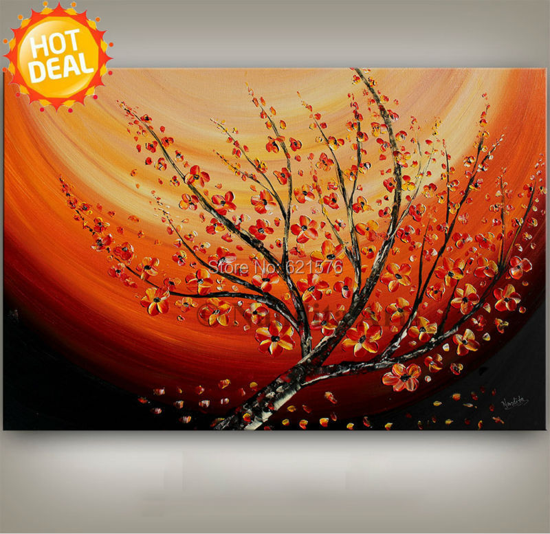 Orange Wall Art aliexpress : buy hand painted modern orange red plum blossom