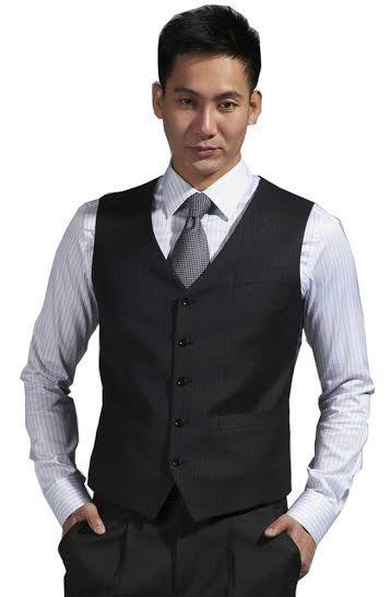 Newest Groom Vests Charcoal Grey Groomsmens/Best Man Vest Custom Made Size and Color Five Buttons Wedding/Prom/Dinner Waistcoat