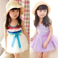 Nueva vestido del bebé 2016 verano breve mangas niñas rayas vestido de princesa de la gasa niño flor del cordón de mariposa de ropa