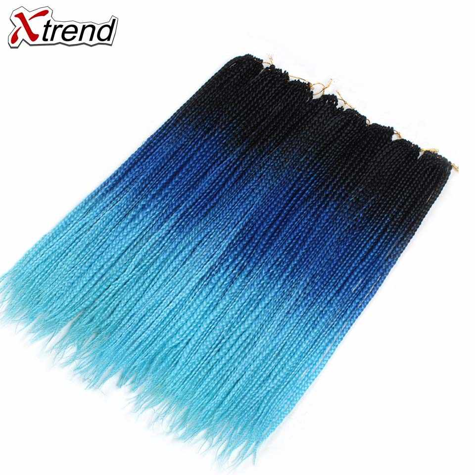 Xtrend вязание крючком коса деграде коробка косы с крючком синтетические накладные волосы Омбре плетение волос два тона цвета Розовый Фиолетовый Синий