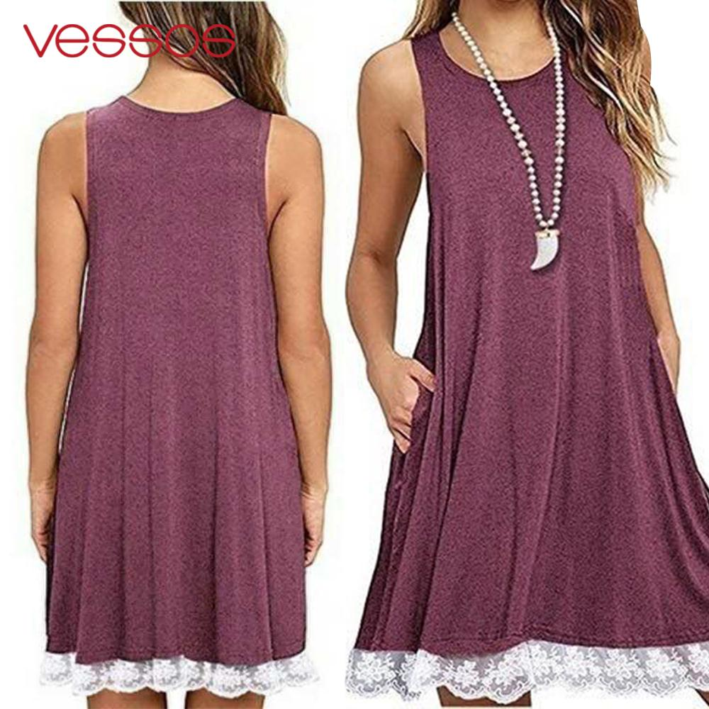 Vessos Seaside Sun Leisure Dress Casual Skirt Comfortable Soft Holiday Sleeveless Dress Cotton Pullover