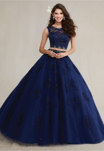 fd348902290 Beaded Lace 2018 Appliques Dress Navy Blue Sweet 16 Dress 2 Piece Quinceanera  Dresses Ball Gowns