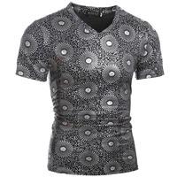 2016 New Men T Shirt Fashion Gold Blocking Technology V Neck Short Sleeve Slim Print T