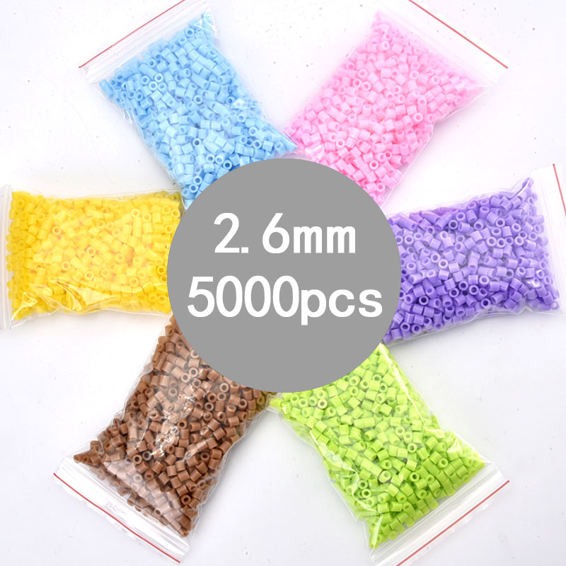5000pcs/bag/57g 2.6mm Hama Beads Kids Fun Craft DIY Handmaking Fuse Perler PUPUKOU Beads Creative Intelligence Educational Toys