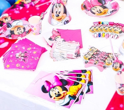 Buy 90pcs Minnie Mouse Kids Birthday Decoration Set Princess Theme Party Supplies Baby Birthday Party pack