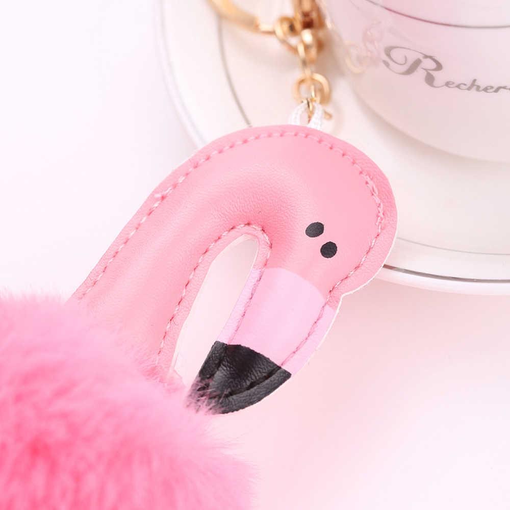 Kawaii мультфильм брелок в виде фламинго Подвески помпоном брелок для Для женщин девочек Сумка пушистого искусственного меха мяч брелок кольца Pom Ювелирное Украшение с помпоном