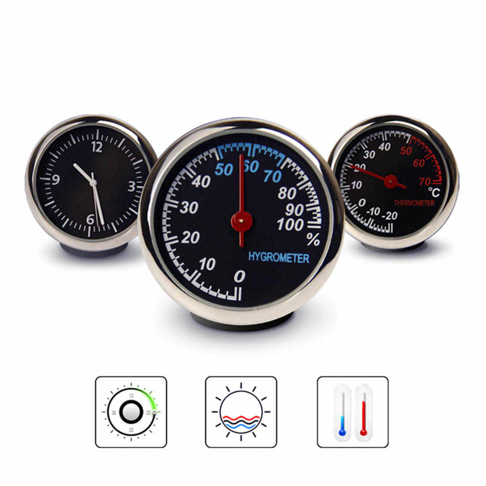 Universal Auto Car Interior Electronic Clock High Precision Automotive Mini Car Digital Thermometer/Hygrometer/Time Gauges