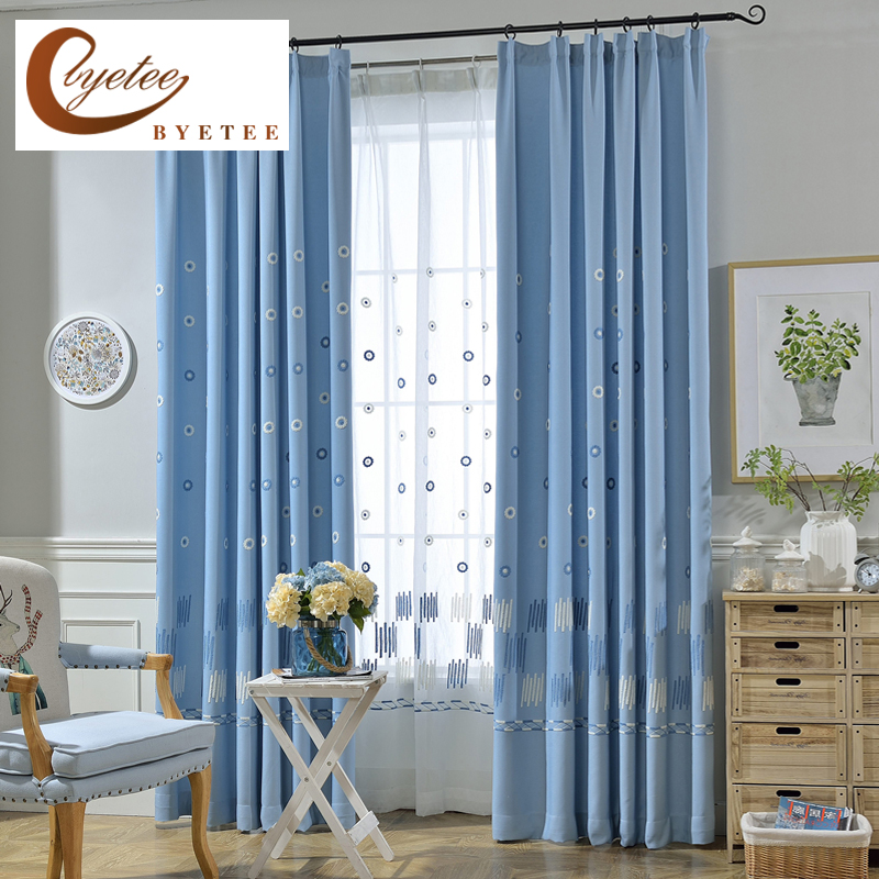 [byetee] Velvet Linen Embroidery Kitchen Blackout Luxury Curtains For Living Room Korean Pastoral Bedroom Curtain Fabrics Drapes