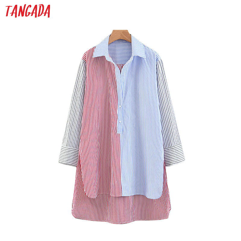 Tangada Women Striped Long Blouse Long Sleeve Asymmetric Shirt Oversized Ladies School Style 2019 Casual Tops SL74