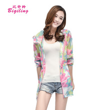 Biqiling Summer Sun Protection Jacket Long Sleeved Transparent Coat Women Camouflage Ultra-thin Beach Clothing Anti-UV