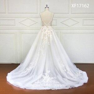 Image 3 - Robe De mariée à col en v, Train Court, avec appliques en dentelle, à perles De cristal, robe De mariée, XF17162