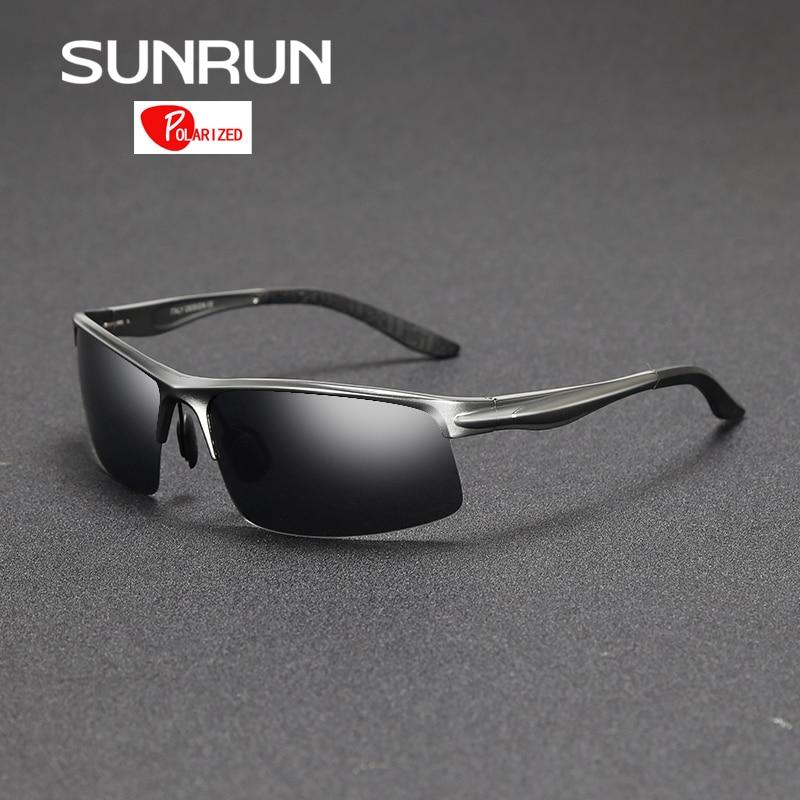 SUNRUN En Aluminium Magnésium Hommes lunettes de Soleil Polarisées Miroir  Lunettes de Soleil de Conduite Lunettes Lunettes pour Homme oculos 8580 1337cabcc30c