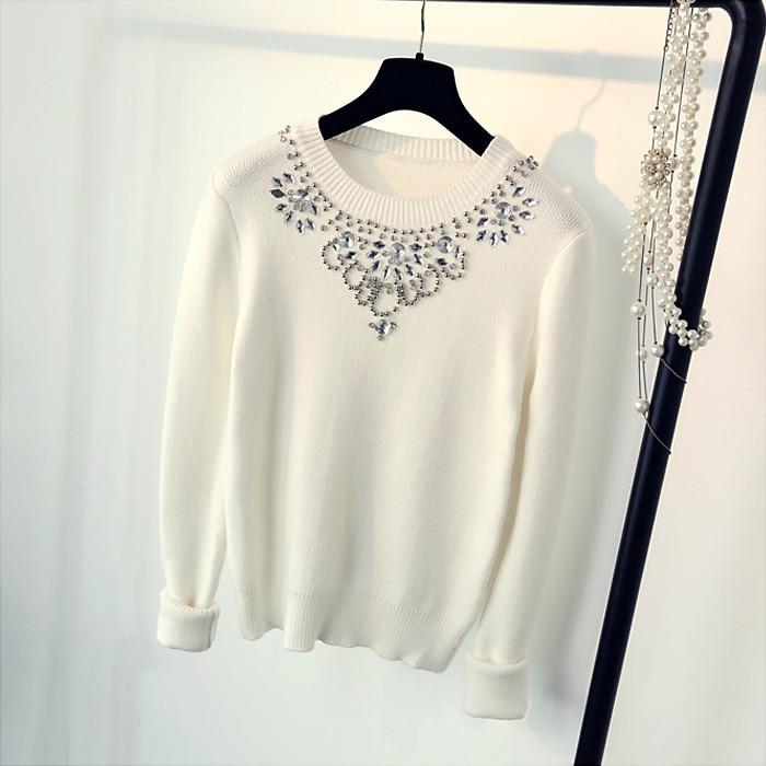 Invierno nueva perla Brillante O-cuello cuello Completo manga pullover camisa de