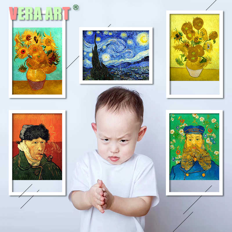 Van Gogh Oil Canvas Painting Canvas Sunflower Apricot Art Print Poster Picture Wall Art Prints Paintings Abstract Poster Picture