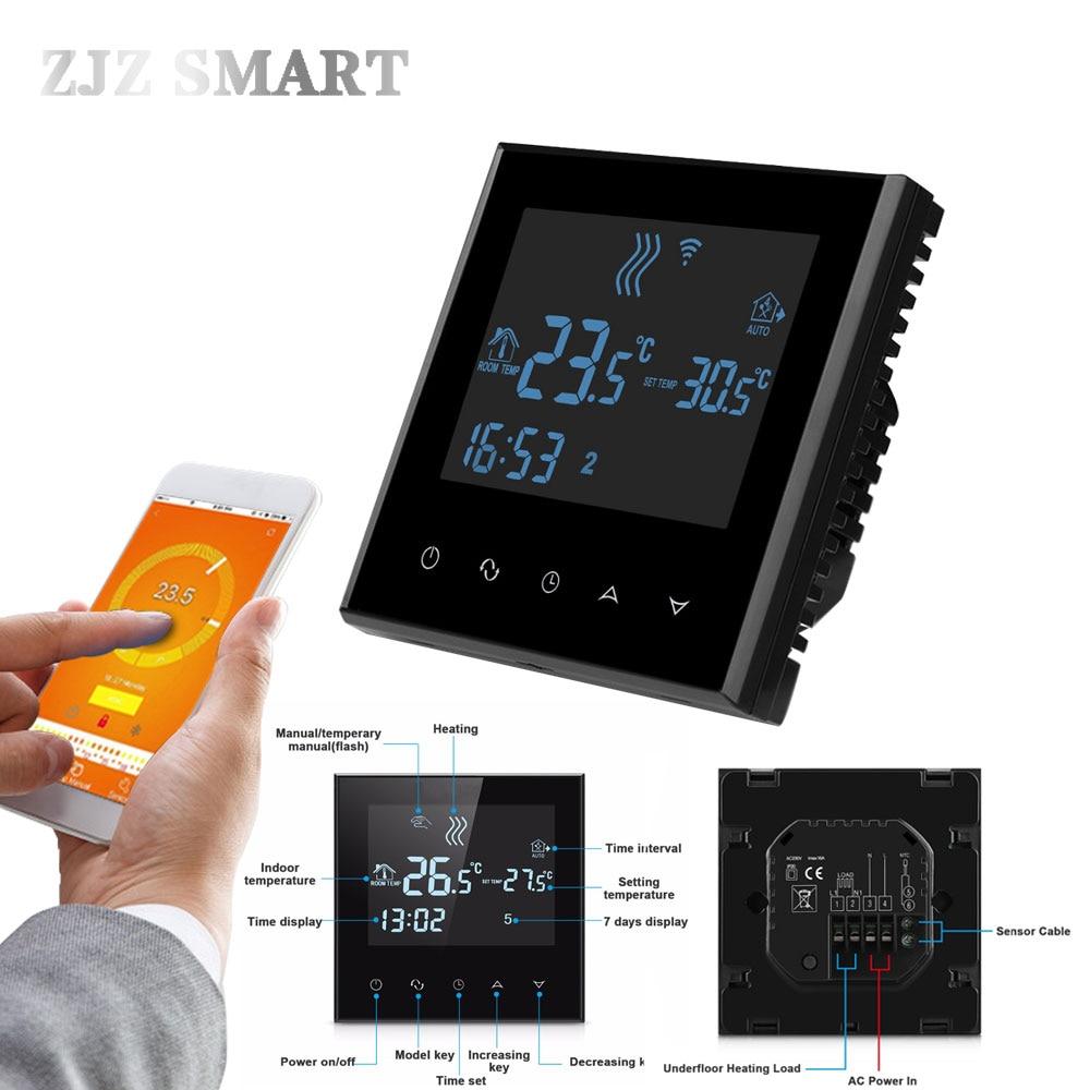 Wifi термостат TouchscreenProgrammable кипятильный на Управление газа кипятильный сухой контакт теплый пол, Электрический Система нагрева