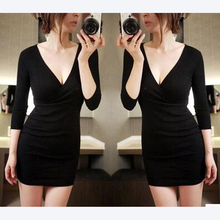 New Black Deep V Neck Dress solid Short Sleeves Package Hip Sheath Office 2017 Women Dresses 2 color