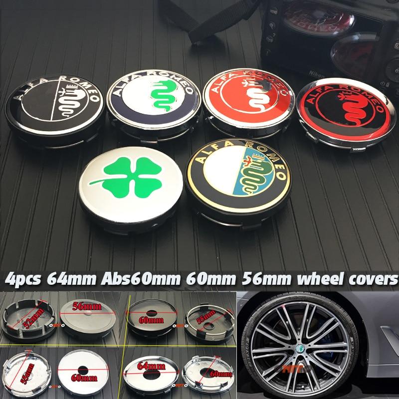 4pcs 64mm 56mm 60mm Alfa Romeo Wheel Center Hub Cap stickers for alfa romeo 159 147 156 166 giulietta A clover emblem covers