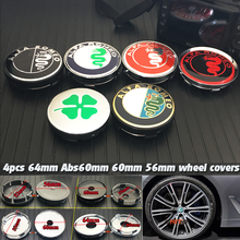 4pcs 64mm 56mm 60mm Alfa Romeo Wheel Center Hub Cap stickers for alfa romeo 159 147 156 166 giulietta A clover emblem covers