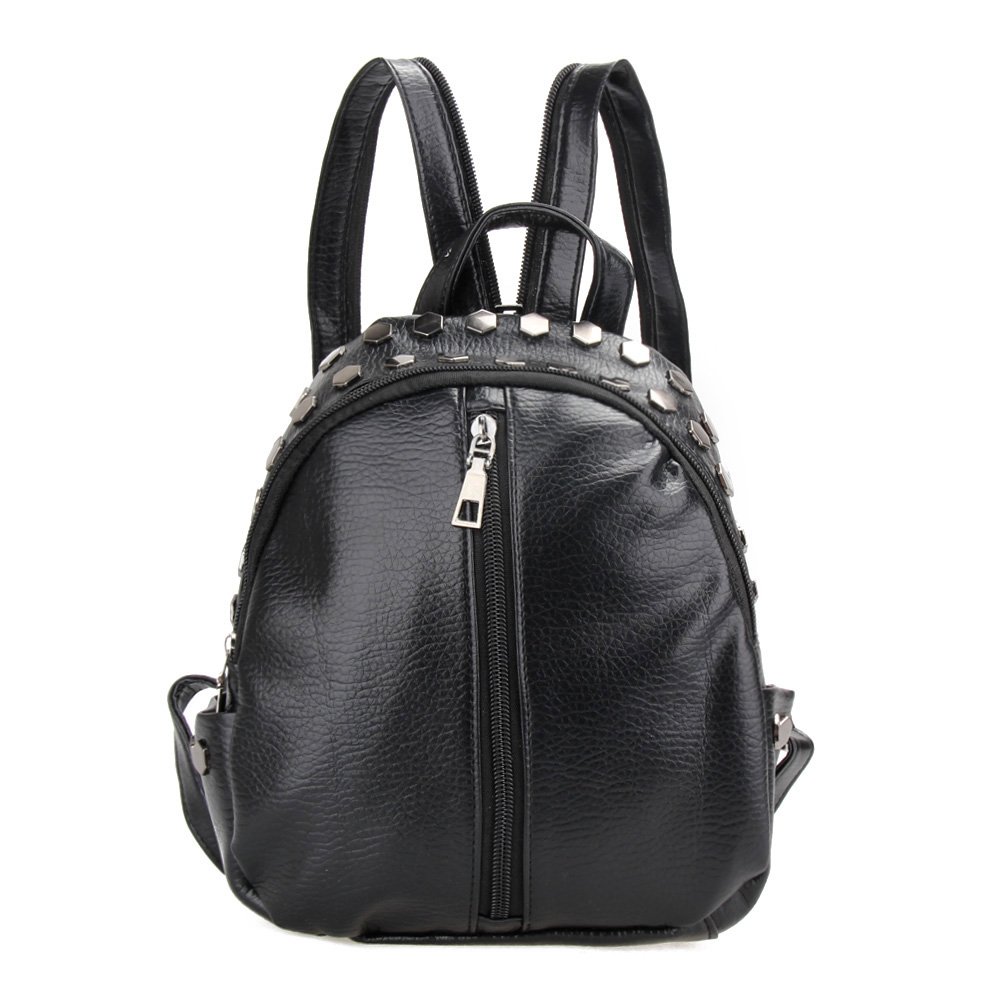 Fashion Women Leather Backpacks Rivet Schoolbags for Teenage Girls Female Bagpack Lady Small Travel Backpack Mochila Black Bags