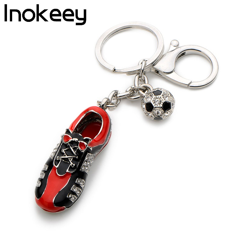 Inokeey Alloy Red Enamel Shoes Sneakers Key Chain Popular Soccer Shoes Women Bag Key Ring Accessories