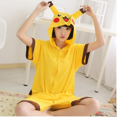Summer cartoon animal conjoined pajamas short-sleeved male cotton girl pure cute couple Pikachu sleep clothes home