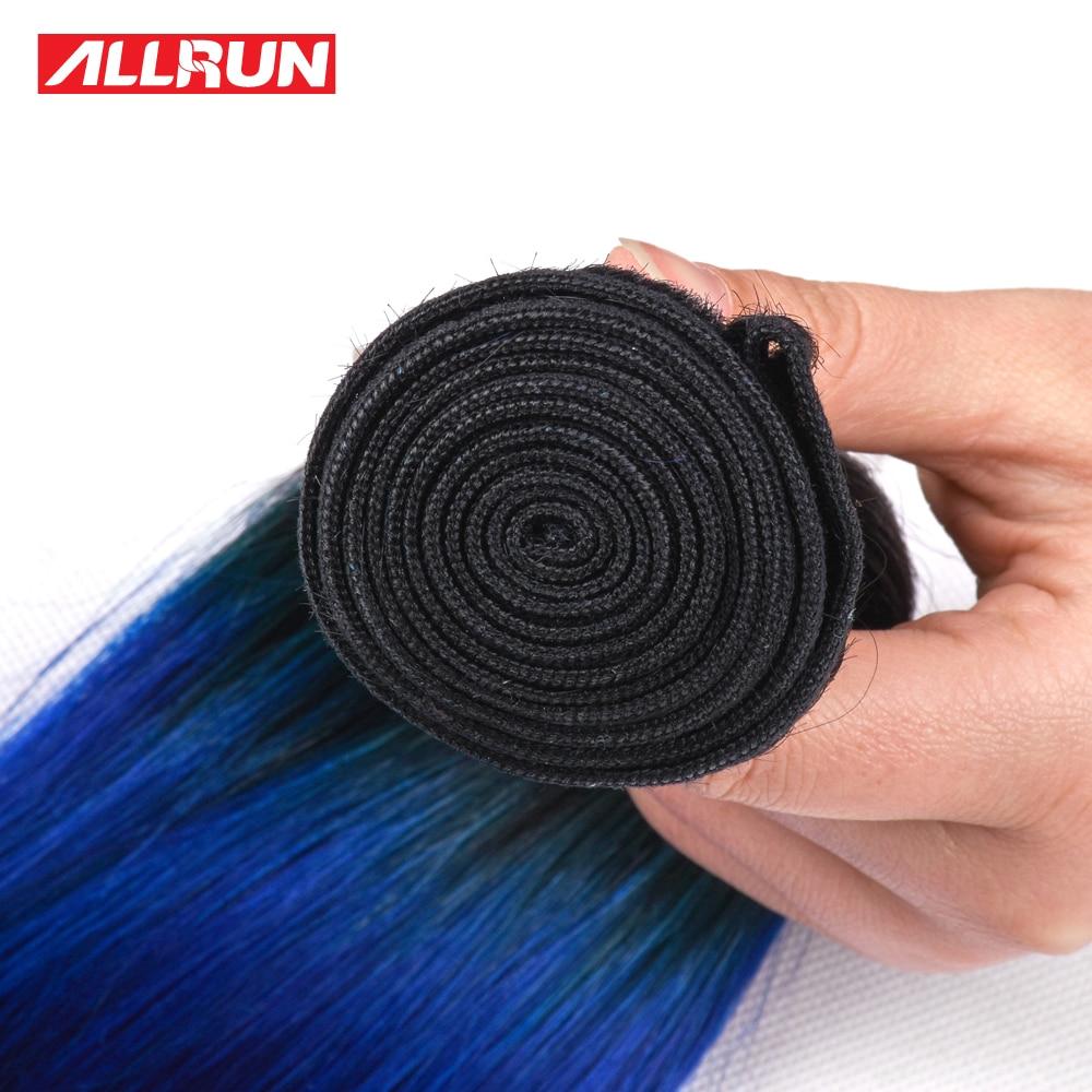 Allrun 1 Bundle European Straight 1B Blue Green Color 100% Human Hair Remy Hair Weave 16-28Inch Free Shipping