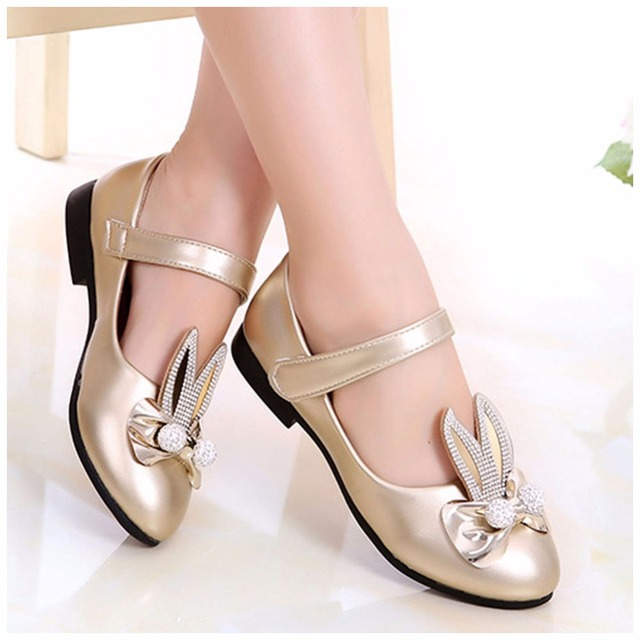 Fashion Children Princess Shoes Rose  Gold Silver PU Leather Cute Rabbit  Bowknot Rhinestone Flower Girls Dress Shoes 23e4bdb86638