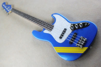 Top Quality Yellow stripes Artistic models F 4 String blue Bass Guitar 15 6 25
