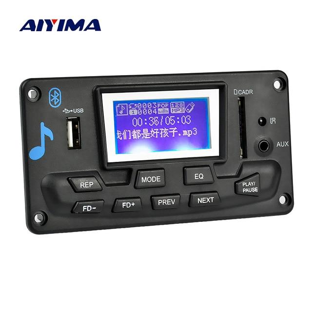 US $12 13 17% OFF AIYIMA 12V LCD Bluetooth MP3 Decoder Board WAV WMA  Decoding MP3 Player Audio Module Support FM Radio AUX USB With Lyrics  Display-in