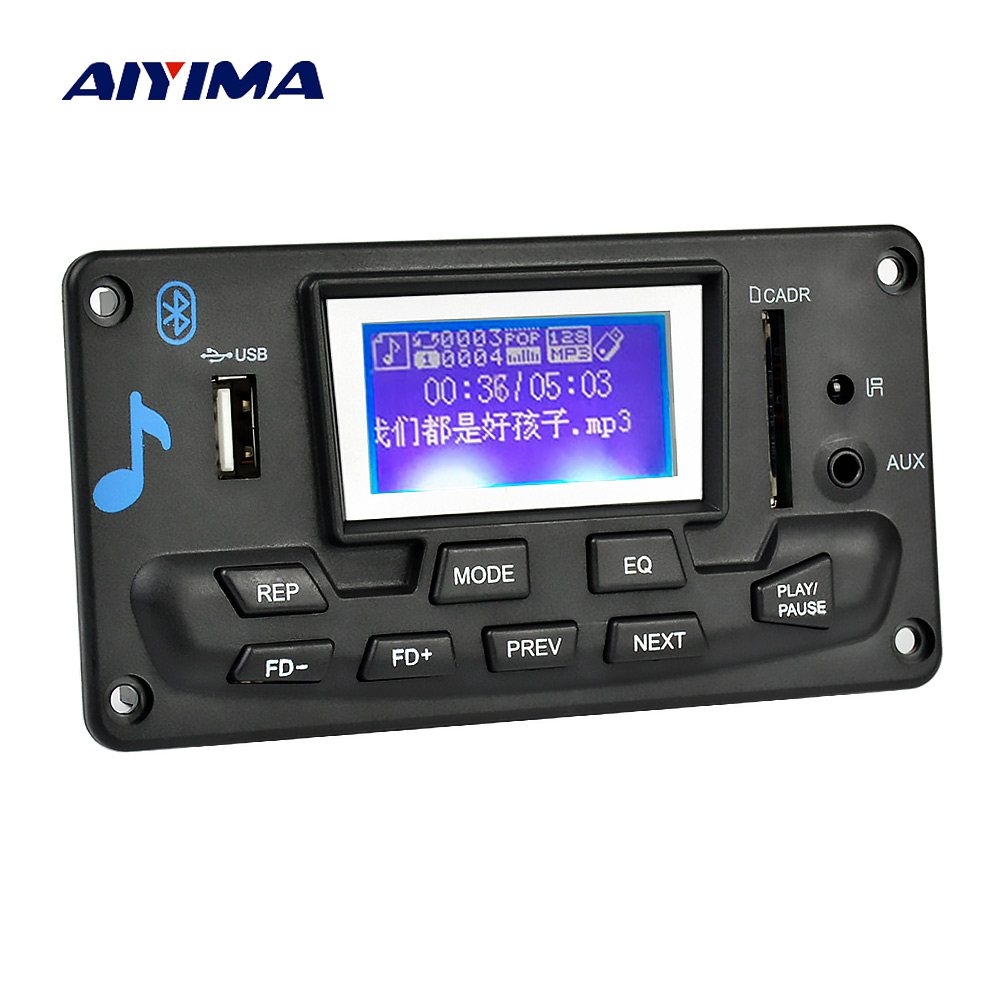 Aiyima 12V LCD Bluetooth MP3 Decoder Board WAV WMA Decoding MP3 Player Audio Module Support FM Radio AUX USB With Lyrics Display leory 5pcs dfplayer mini mp3 player module for arduino 24 bit dac output voice module support mp3 wav wma tf card usb disk