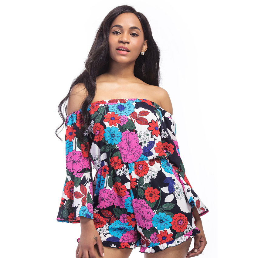 Jos Store Fashion Playsuit For Women Summer Floral Printed Female Rompers Sexy Off Shoulder Woman Suits Elastic Waist Strapless Suit X6002