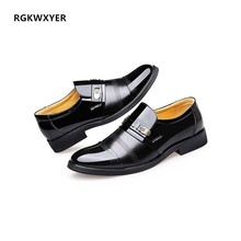 RGKWXYER New Casual Business Shoes Men Breathable PU Leather Formal Dress Male Office Party Wedding Mocassins