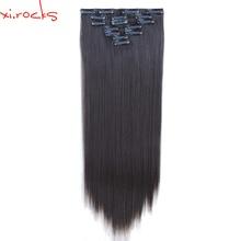 2 компл. 7 шт./компл. XI. камни химическое Зажим в синтетических выдвижениях волос 55 см прямой парики Зажимы на Наращивание волос 130 г чёрный; коричневый 4A